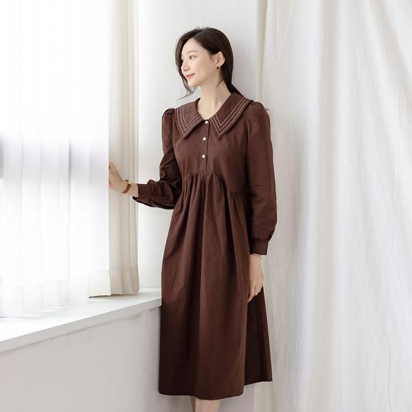 misscandy-[no.20990 스티치카라 셔링 루즈핏원피스]♡韓國女裝連身裙