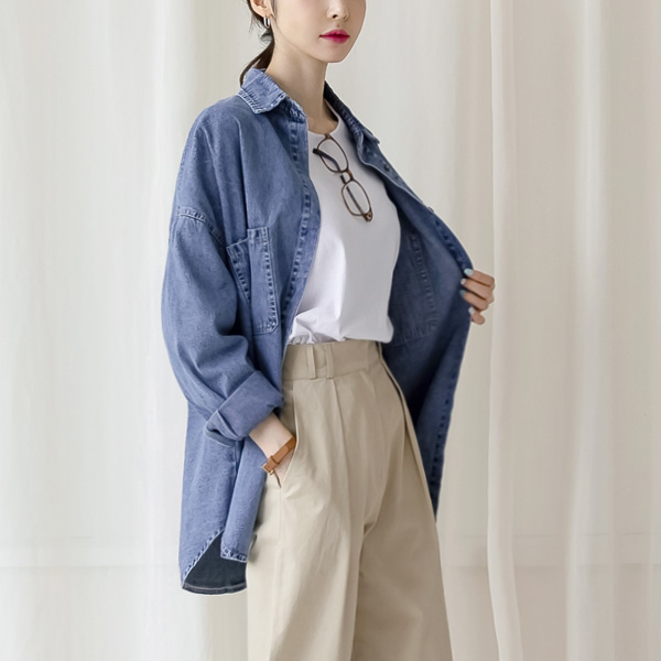 misscandy-[no.20988 스타일리시 빅포켓 루즈핏 데님셔츠]♡韓國女裝上衣