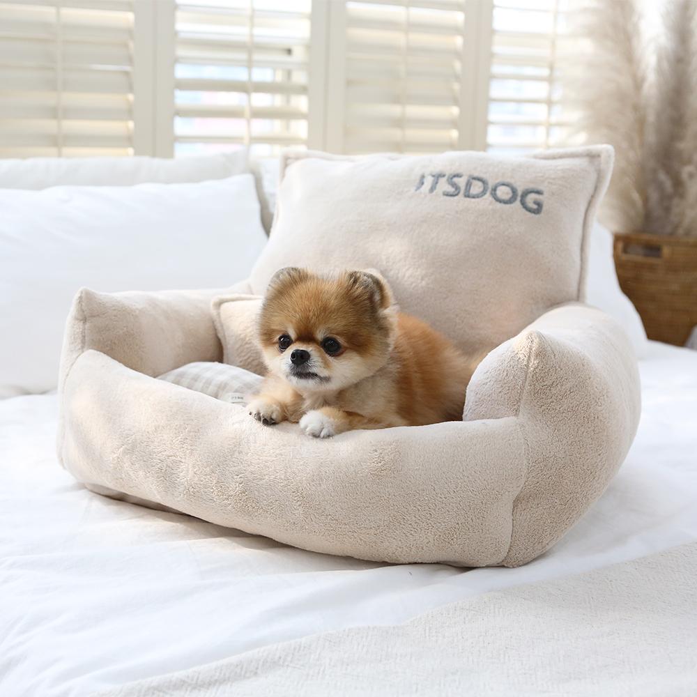 itsdog-[스너글 극세사 사각 베드 (베이지)]♡寵物生活用品