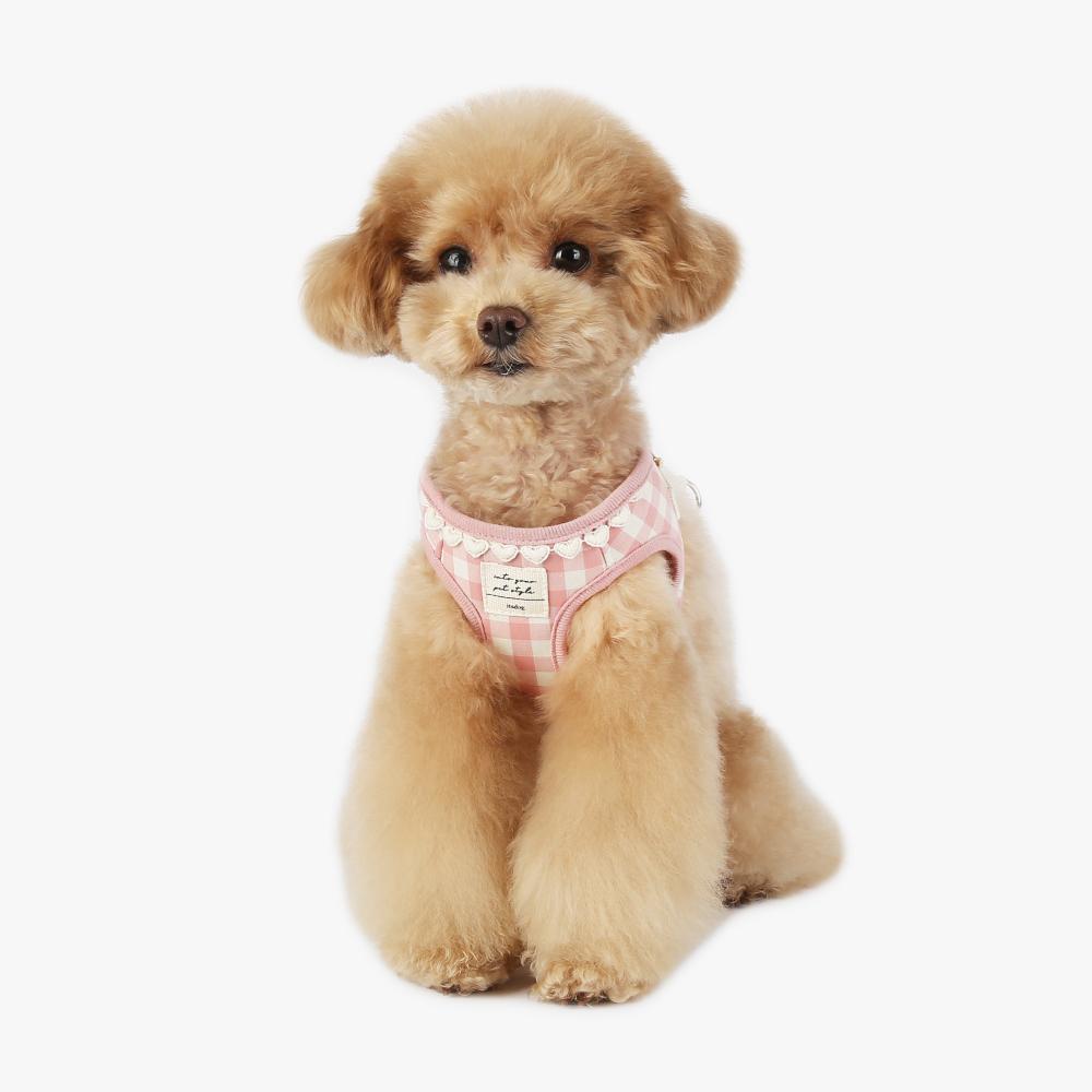 itsdog-[하트 체크 하네스 (핑크) ]♡寵物散步帶用品