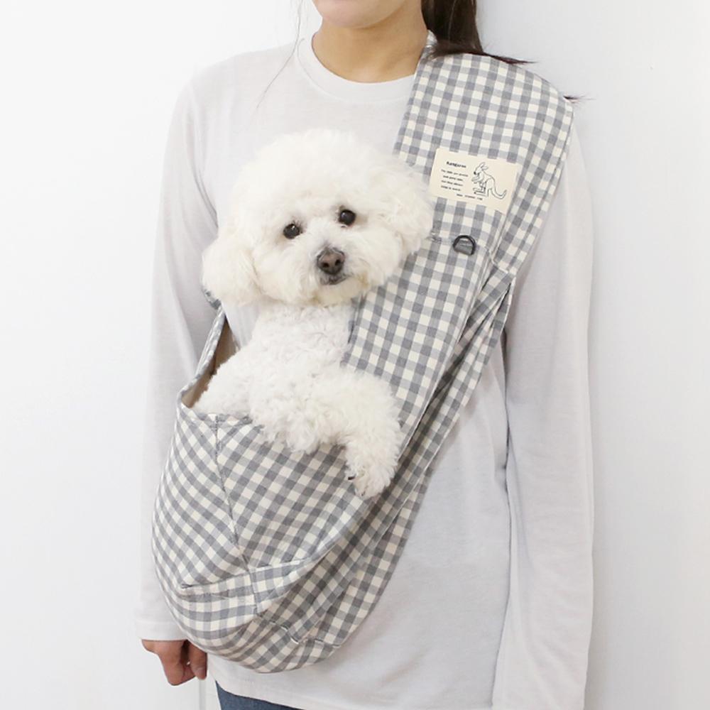 itsdog-[캥거루 스마트 슬링백 (체크그레이)]♡寵物散步帶用品