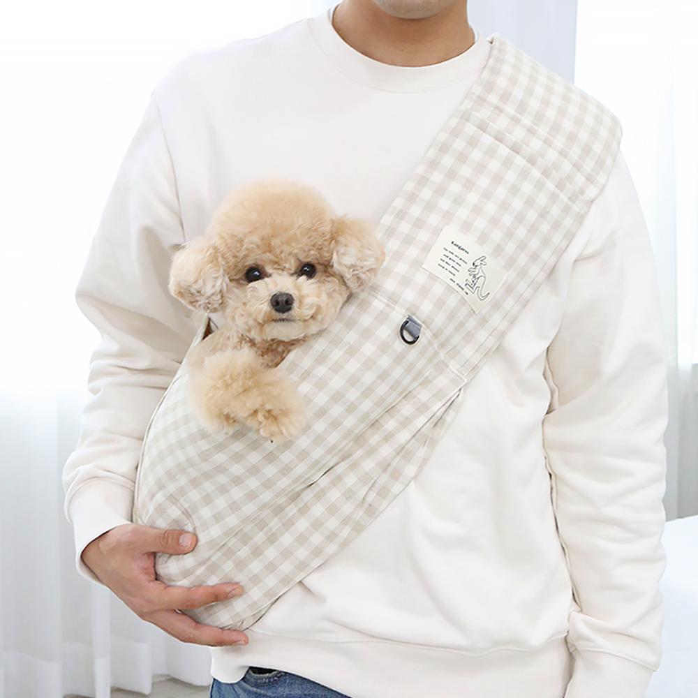 itsdog-[캥거루 스마트 슬링백 (체크베이지)]♡寵物散步帶用品