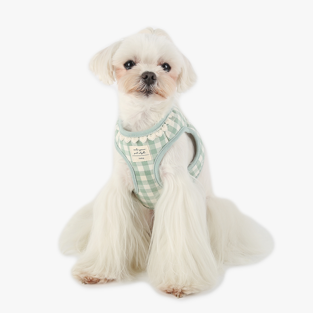 itsdog-[하트 체크 하네스 (민트)]♡寵物散步帶用品