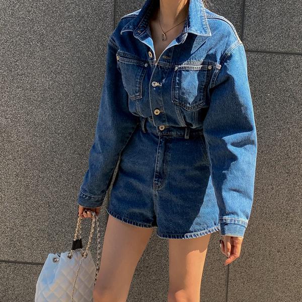 planj-[PREMIUM]하니 데님 점프수트♡韓國女裝褲