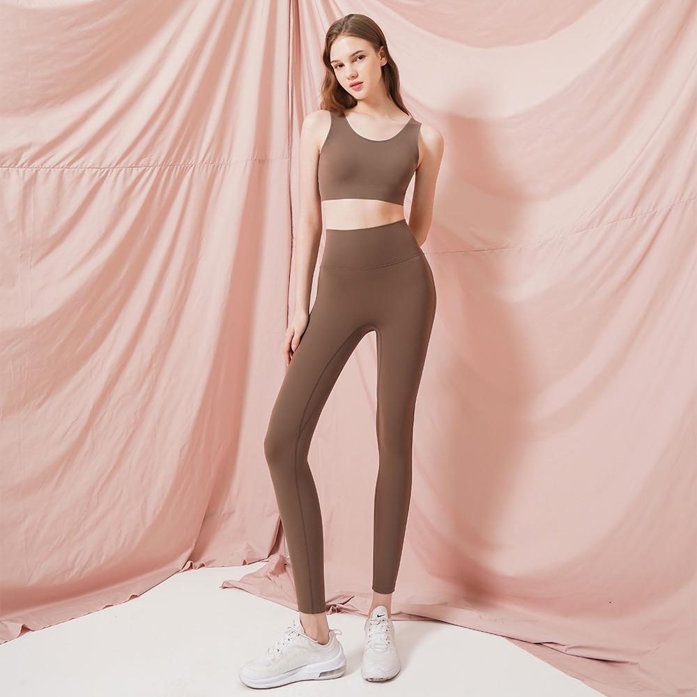 skullpig-[텐션플렉스] 라인 프리 레깅스 딥베이지♡韓國瑜伽女裝褲