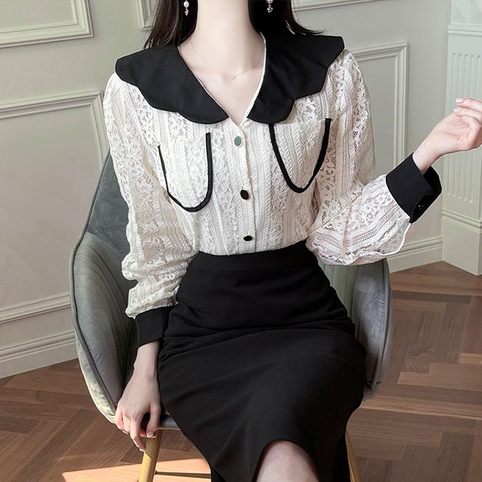 myfiona-미엔 물결카라 브이넥 레이스 블라우스 a1814 - 러블리 로맨틱 1위 쇼핑몰 피오나♡韓國女裝上衣