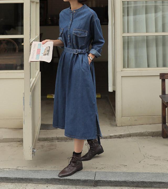roompacker-룸페커 [라임 차이나 반오픈 데님원피스]♡韓國女裝連身裙