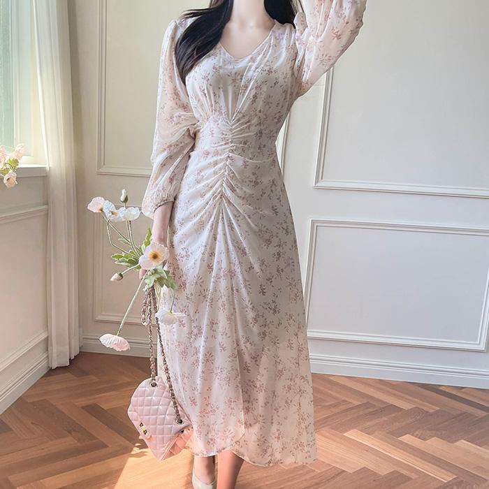 myfiona-피오린 브이넥 허리셔링 쉬폰 원피스 a1811 - 러블리 로맨틱 1위 쇼핑몰 피오나♡韓國女裝連身裙
