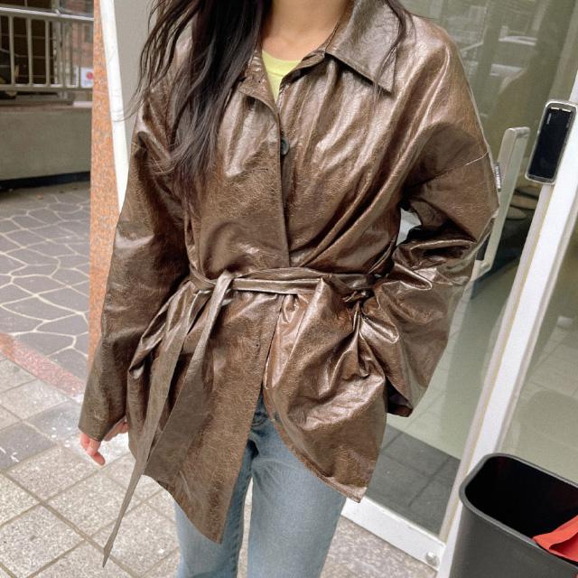 banharu-반하루[센티 스트랩 레더자켓]♡韓國女裝外套