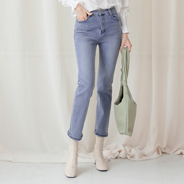 misscandy-[no.20993 애쉬블루 히든밴딩 일자핏팬츠]♡韓國女裝褲