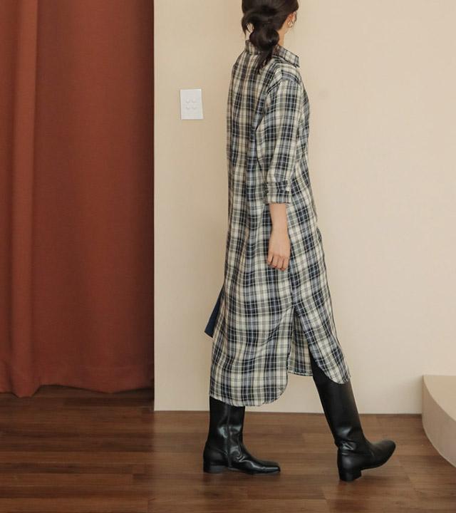 roompacker-룸페커 [리카 코튼 체크 롱 셔츠원피스]♡韓國女裝連身裙