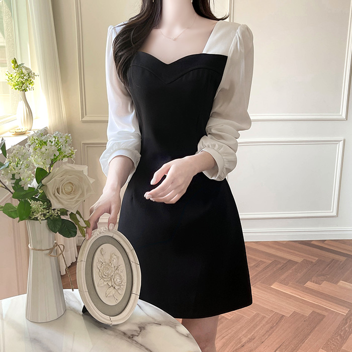 myfiona-로엘르 여리한 하트넥 배색 원피스 a1807 - 러블리 로맨틱 1위 쇼핑몰 피오나♡韓國女裝連身裙