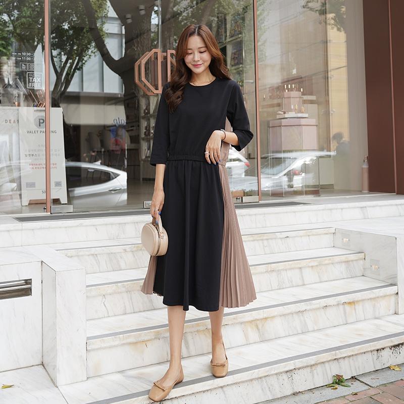 clicknfunny-머번토배색 플리츠원피스♡韓國女裝連身裙