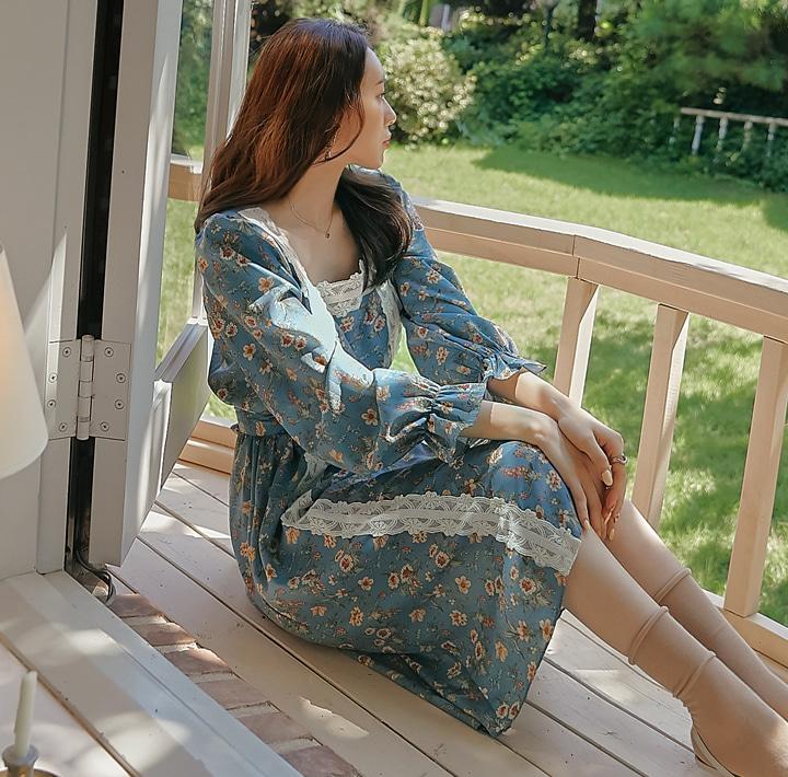 common-unique-멜튼 플라워 레이스 스트랩 원피스♡韓國女裝連身裙