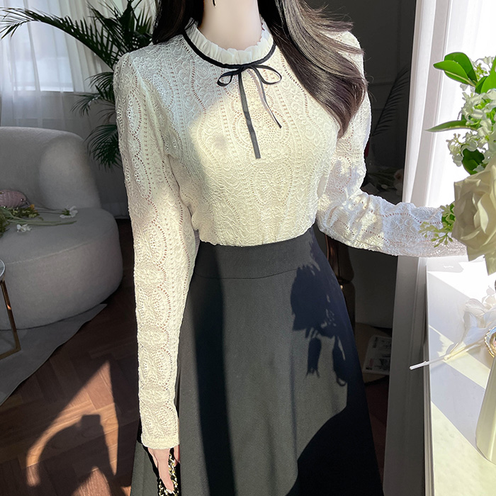 myfiona-샤론 리본 레이스프릴 블라우스 a1818 - 러블리 로맨틱 1위 쇼핑몰 피오나♡韓國女裝上衣