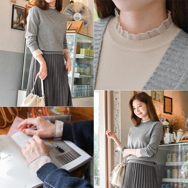 midasb-[유니크 레이스 니트]♡韓國女裝上衣