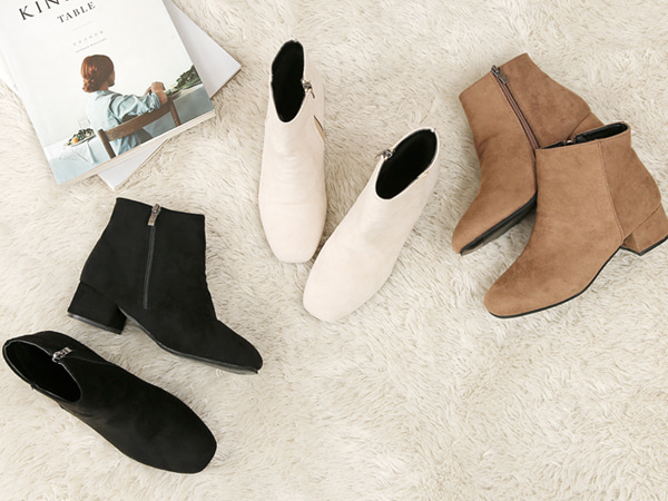 fashion-full-(밍크)스웨이드 미들 앵클 부츠♡韓國女裝鞋