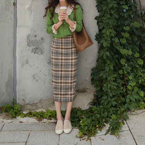 leelin-[클리첵 은은체크 H라인 스커트[size:S,M]]♡韓國女裝裙
