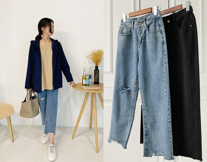 ssunny-[뒷밴딩 배기트임 데님팬츠]♡韓國女裝褲