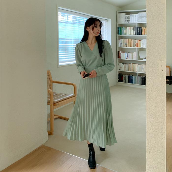 09women-[로조 주름 뒷밴딩 롱 원피스 61373]♡韓國女裝連身裙