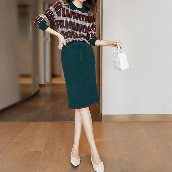 fashion-full-카일 배색 체크 니트 & 밴딩 스커트(TIME SALE 20%)♡韓國女裝套裝