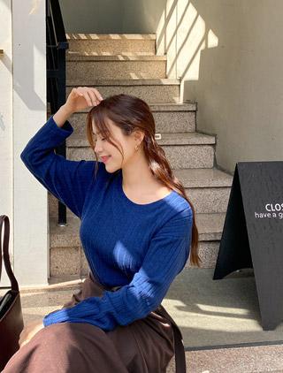 jstyleshop-[퓨티넨 레이온스판 골지 티셔츠]♡韓國加大碼上衣