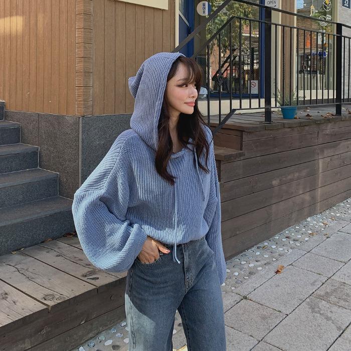 theresheis-킨프 크롭 후드 니트♡韓國女裝上衣