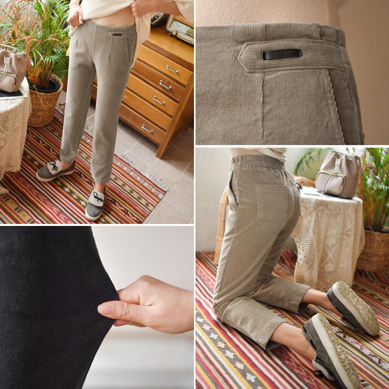 midasb-[로이스 레더패치 골덴 팬츠 [뒷밴딩/기모안감]]♡韓國女裝褲