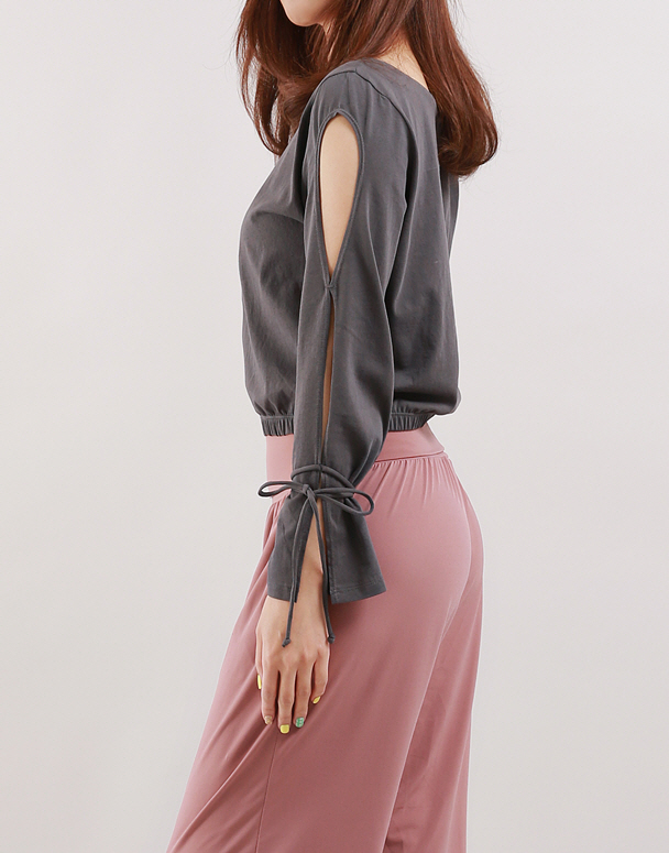 chamar-[CT165 푸딩T(차콜)]♡韓國瑜伽女裝上衣
