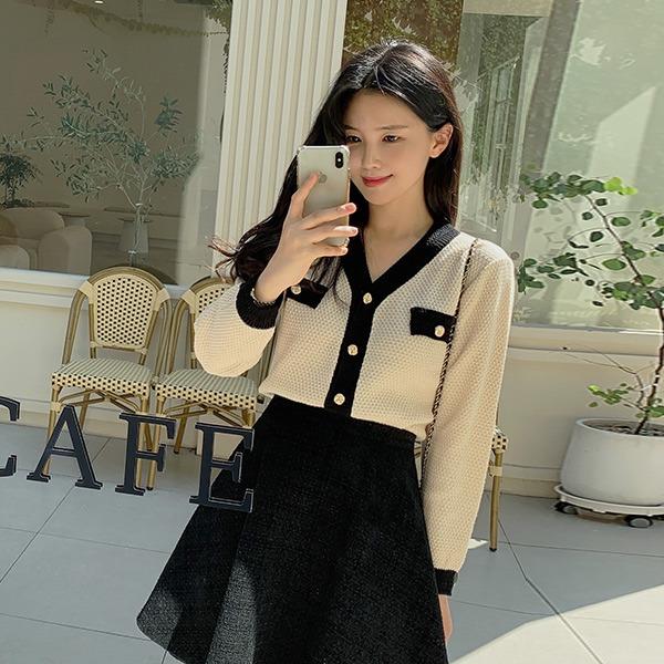 benito-리에 배색 가디건신상/베스트/배색/브이넥/니트/가디건/금장/간절기/가을여성/데일리♡韓國女裝外套