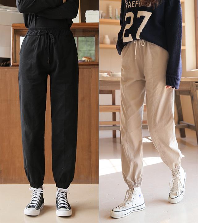 roompacker-룸페커 [라움 피치기모 루즈핏 조거팬츠]♡韓國女裝褲