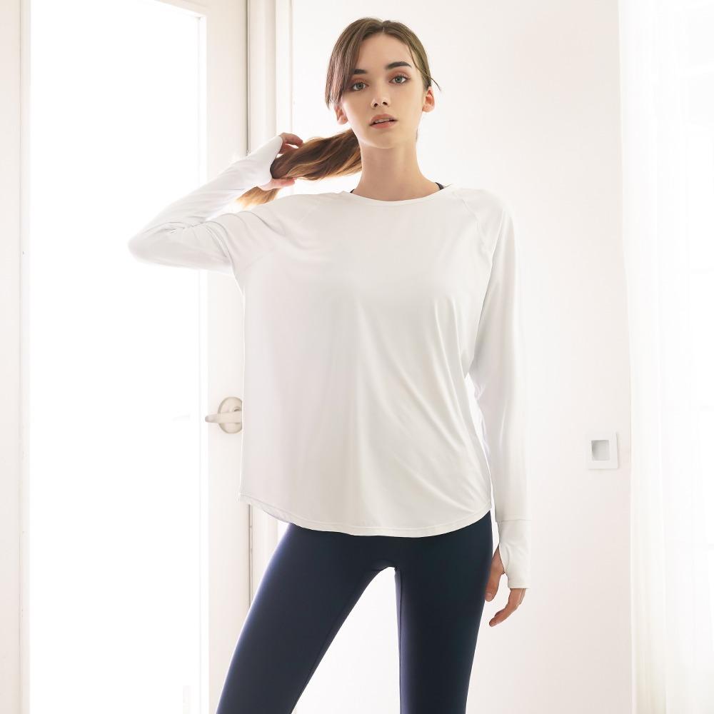 skullpig-[소프에센셜] 무브 라이트 티셔츠 화이트♡韓國瑜伽女裝上衣