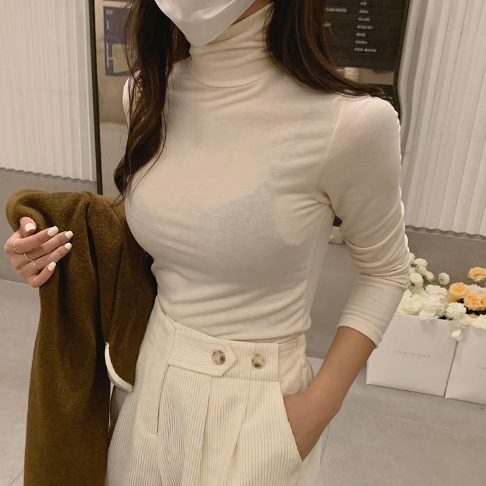 theresheis-엘피스 기모 터틀넥 티셔츠♡韓國女裝上衣
