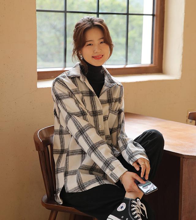 roompacker-룸페커 [타미 체크 기모 루즈핏 셔츠]♡韓國女裝上衣