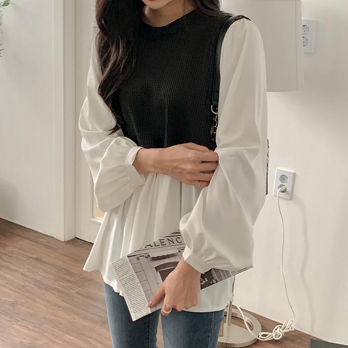 09women-[니테아 와플 배색 블라우스 61879]♡韓國加大碼上衣