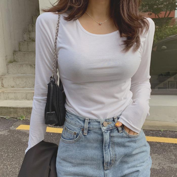 theresheis-다프니 라운드 티셔츠♡韓國女裝上衣