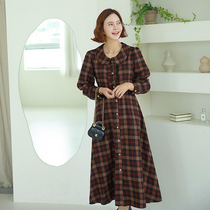 lemite-따듯체크 카라원피스♡韓國女裝連身裙