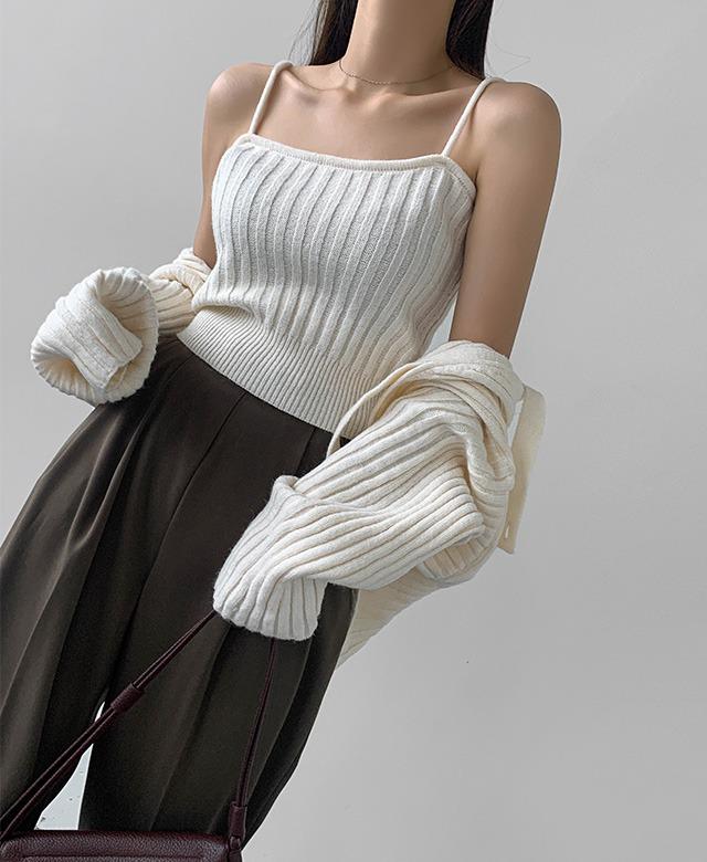 merongshop-[무료배송] 아이비 버튼 나시 가디건 세트♡韓國女裝套裝