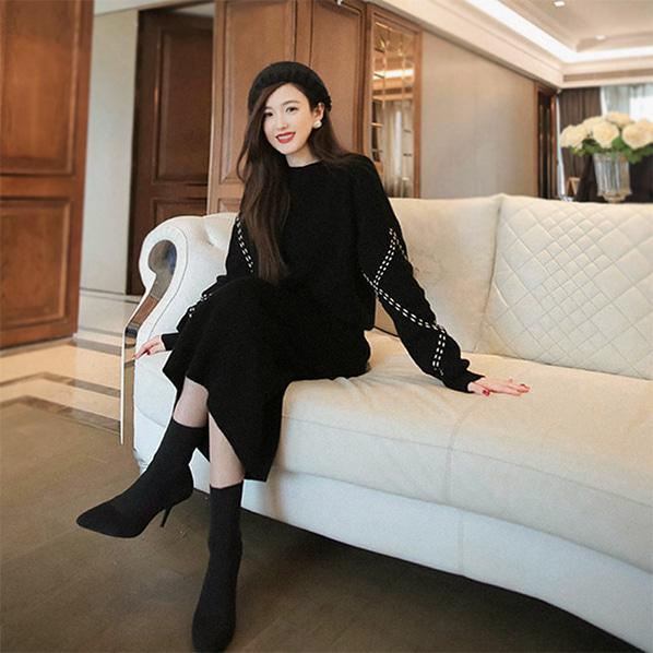 fashion-full-다몬드 니트 & 스커트 SET(TIME SALE 15%)♡韓國女裝套裝