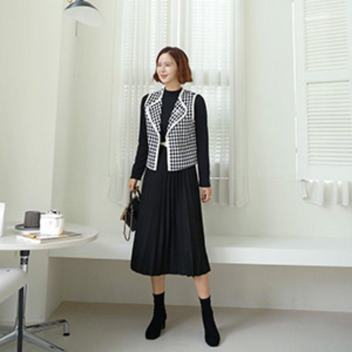 lemite-만날거야 체크조끼셋트(벨트세트)♡韓國女裝連身裙套裝