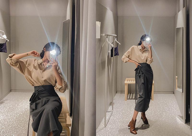 maybins-제이나 셔츠&스커트set♡韓國女裝套裝