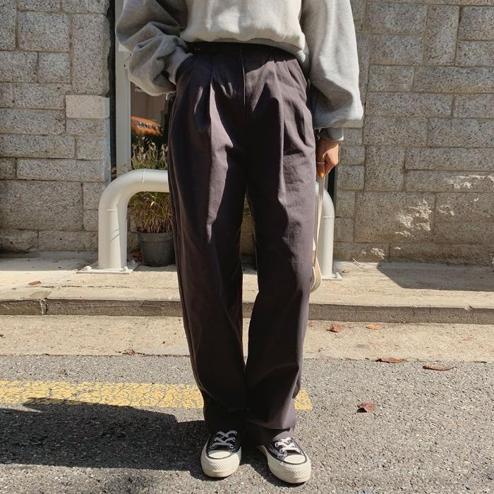 theresheis-슈론 버클 와이드 팬츠♡韓國女裝褲