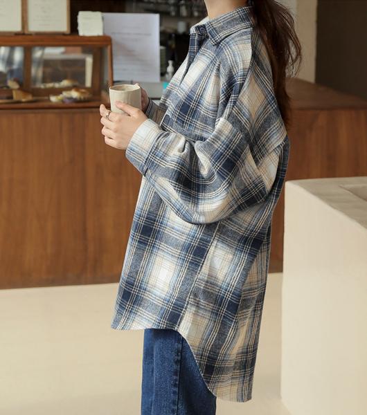 roompacker-룸페커 [바비 체크 기모 루즈핏 롱 셔츠]♡韓國女裝上衣