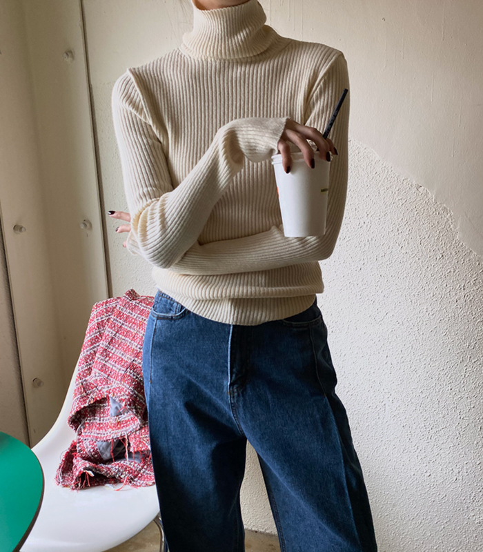 sibuya-[캐시미어 골지 폴라 nt]♡韓國女裝上衣