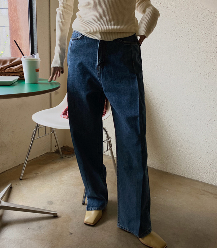 sibuya-[플리츠 와이드 진]♡韓國女裝褲