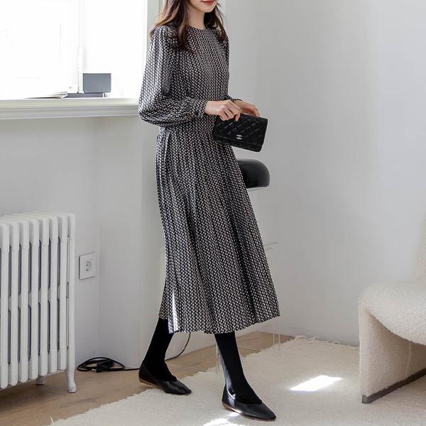misscandy-[no.21145 빗살무늬 벌룬소매 롱원피스]♡韓國女裝連身裙