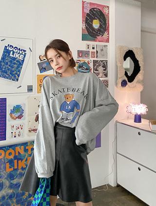 jstyleshop-[베인트 베어 프린팅 맨투맨]♡韓國加大碼上衣