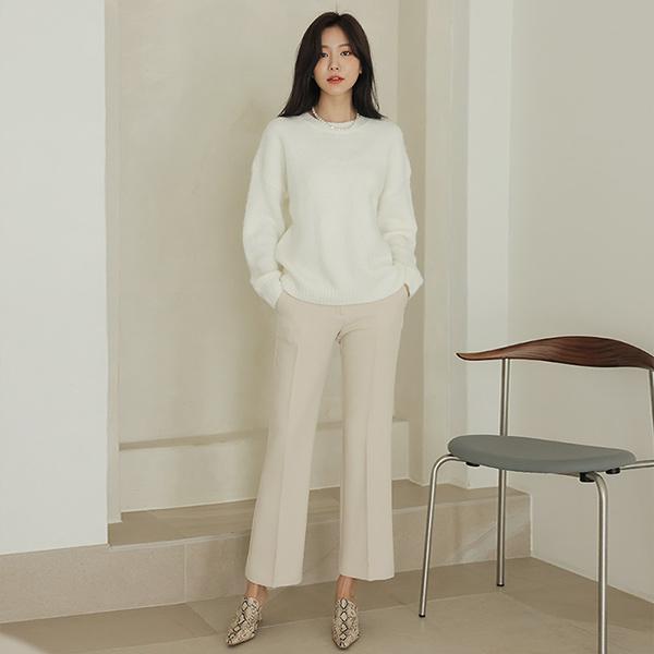 ode-[세미 부츠컷 도톰 데일리 9부 슬랙스]♡韓國女裝褲