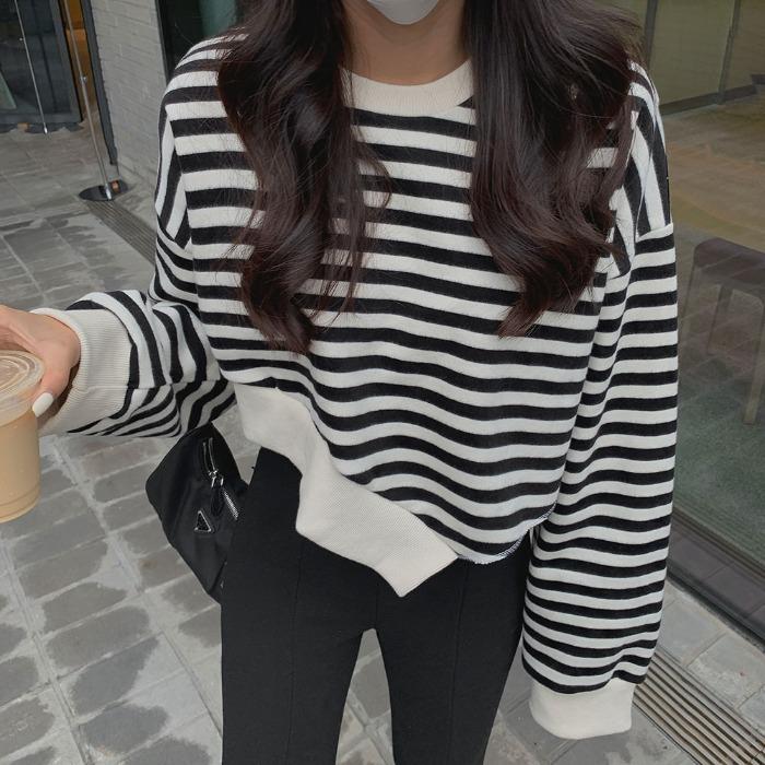 theresheis-피오브 기모 언발 맨투맨♡韓國女裝上衣