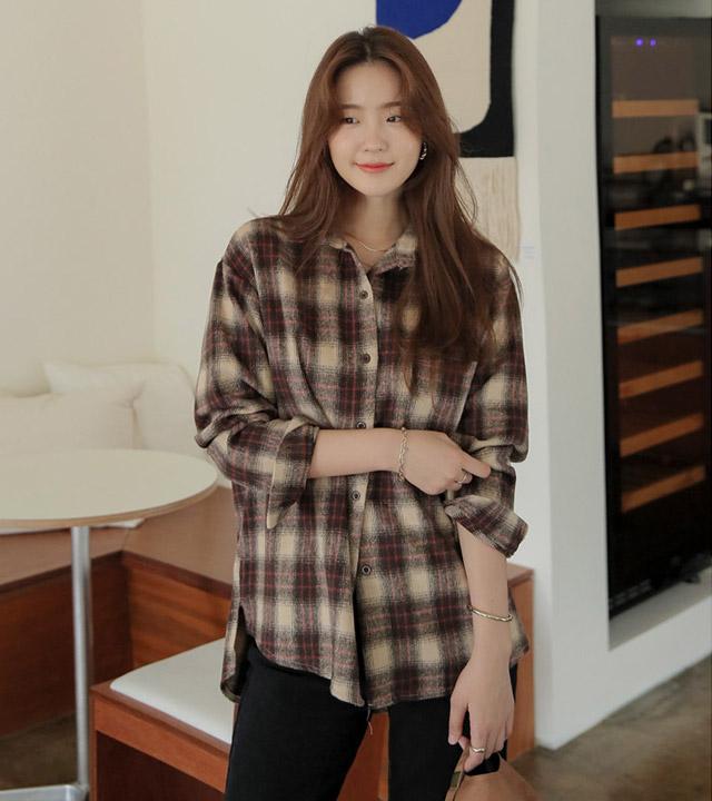 roompacker-룸페커 [모드 체크 기모 루즈핏 롱 셔츠]♡韓國女裝上衣